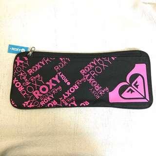BNWT Roxy Black Neon Pink Logo Large Pencil Case Bag Pouch