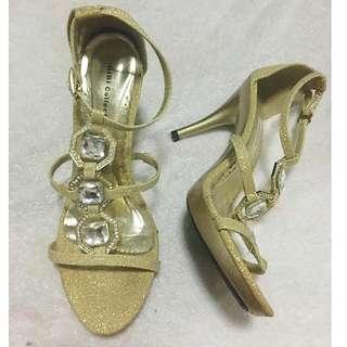Gold High Heel Open Toe Sandals