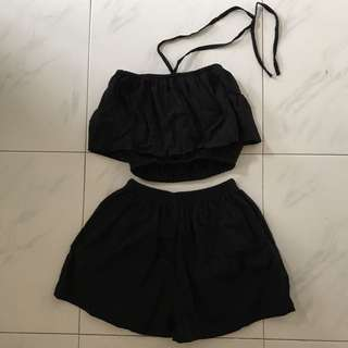 Two Piece Black Halter Neck Tube Top And Shorts