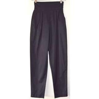 MCQ ALEXANDER MCQUEEN BLACK PLEAT TOP HIGH WAIST SLIM TAPERED CROP PANTS *NEW* 36