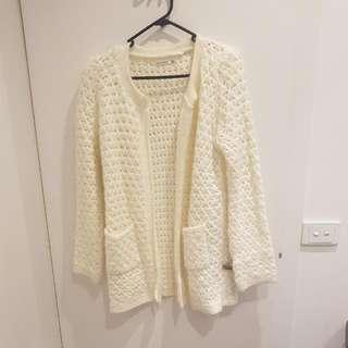 Cream Woolen Cardigan - Size M/L