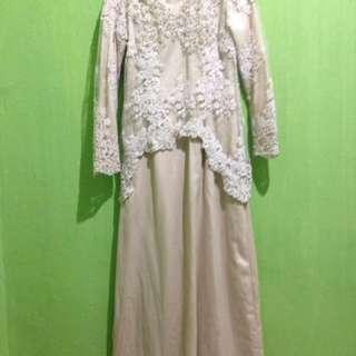 Dress Krem Long Sleeve (fit to S)