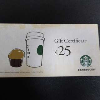 Starbucks 6張 $25現金卷
