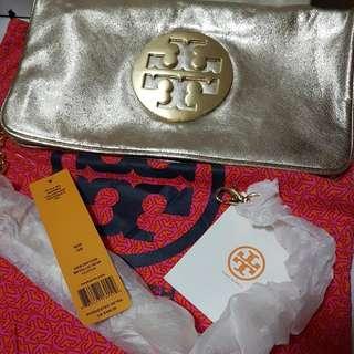 Tory Burch Metallic gold Reva clutch
