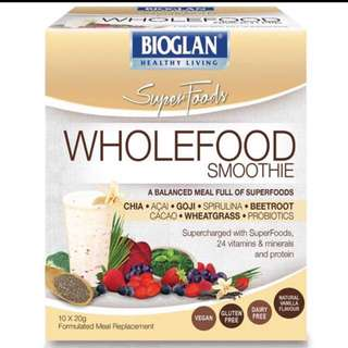 [clearance] Bioglan Superfoods Wholefood Smoothie Vanilla 10x20g Sachets