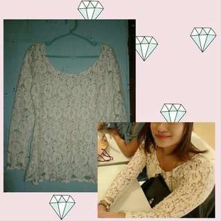 Flower lace Long Sleeve Blouse