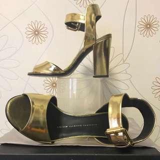 Giuseppe Zanotti Alien 90 Gold Heels
