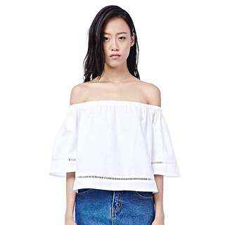 (CLEARANCE) TEM Laraine Off Shoulder Top In White
