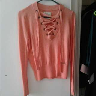 NWOT- Abercrombie Lace-Up Sweater