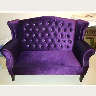 Velvet 3 seater Sofa with jewel studs used once for wedding