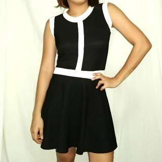 Black Dress With White Line Details