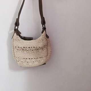 編織包 可愛 復古 米白 夏季 海灘側背包 小包 包包