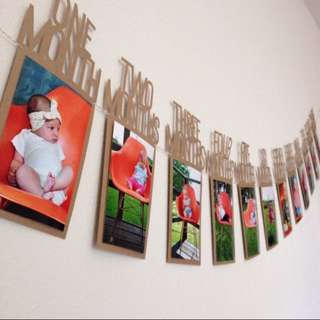 1-12 Months Baby Photo Banner. Kids Birthday Gift Decoration