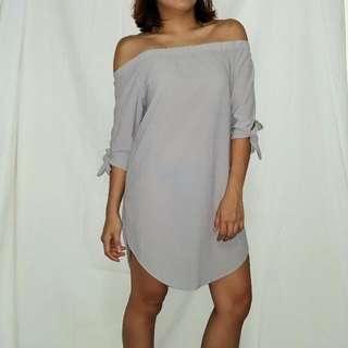 Off Shoulder Grey Dress