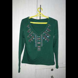 Green Sequined Blouse