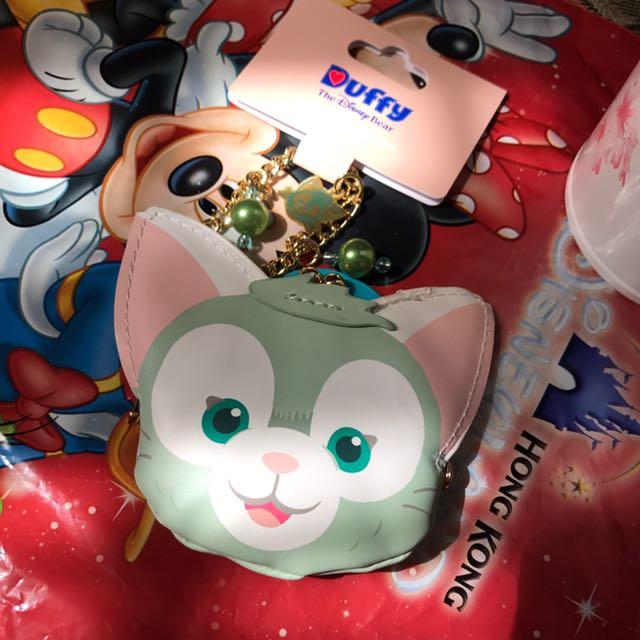 香港迪士尼畫家貓吊飾零錢包