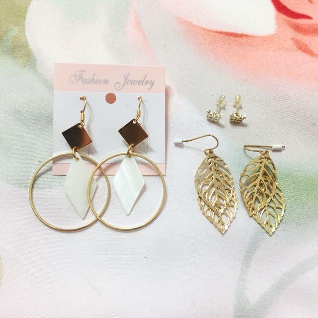 金色針式耳環 圈圈菱形貝殼 蝴蝶 樹葉