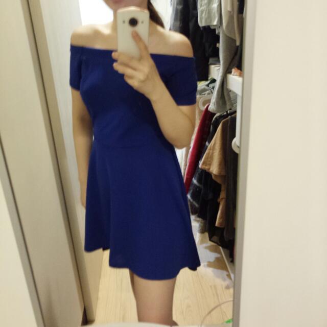 全新 藍色一字領洋裝 質感超好