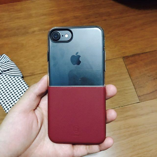 透明 酒紅 低調手機殼 iphone7