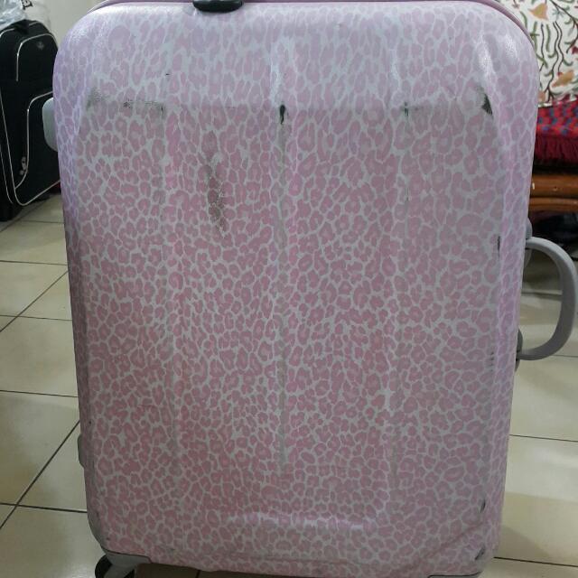 皇冠 Crown 粉紅豹紋行李箱 29吋