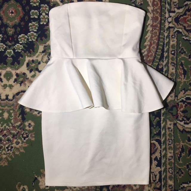 APARTMENT 8 WHITE PREPLUM TUBE DRESS