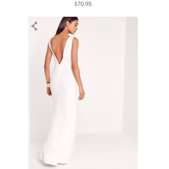 Backless White Formal Dress