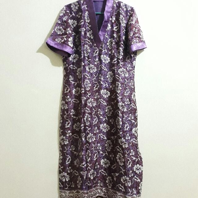 Batik Shi Flower Purple Dress