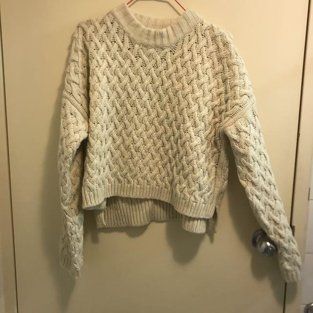 Beige Cropped Knit