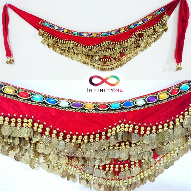 Belly Dance Velvet Hip Scarf with Gold Coins Band & Gemstone  Hip Belt -  Red with abt 300 gold coins