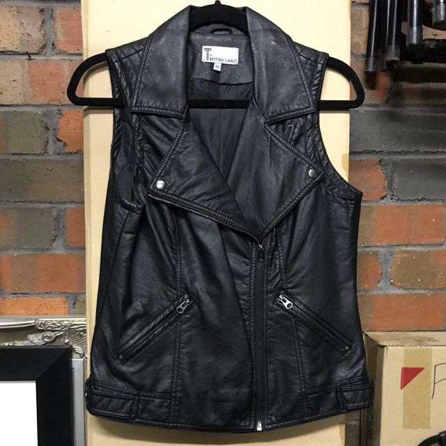 BETTINA LIANO Women's Black Leather Biker Vest Size 10