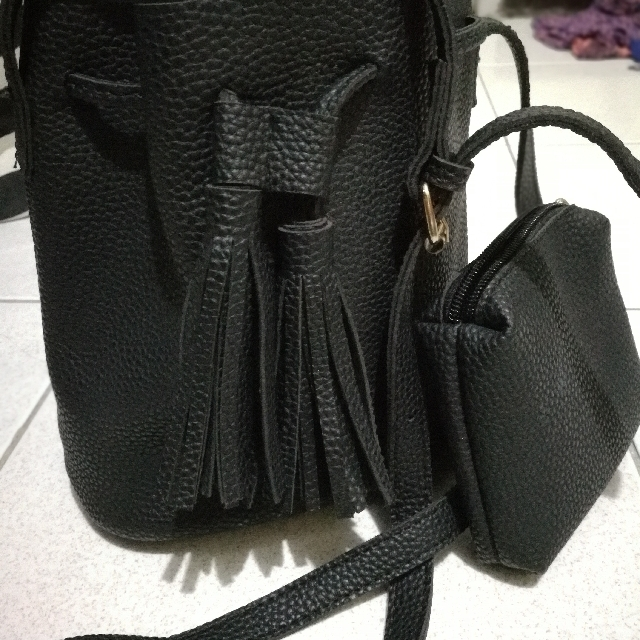 Black Sling Bag With a pouch