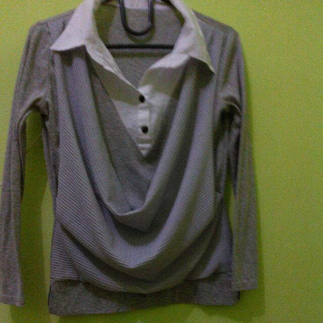 Blouse White Gray Color No Brand (Size S Fit To M)