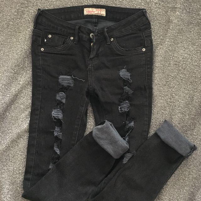 BNY Ripped Black Skinny Pants