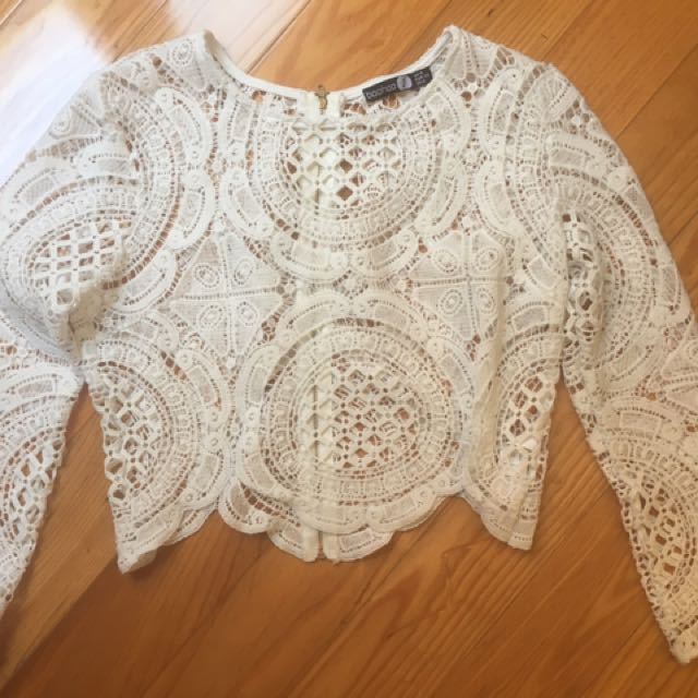 Boohoo White Lace Top