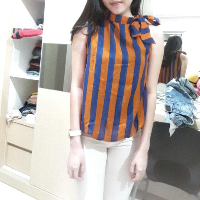 FREE ONGKIR bow tie stripe top