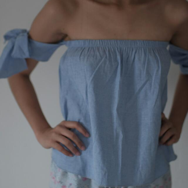 Chambray Off-shoulder Top