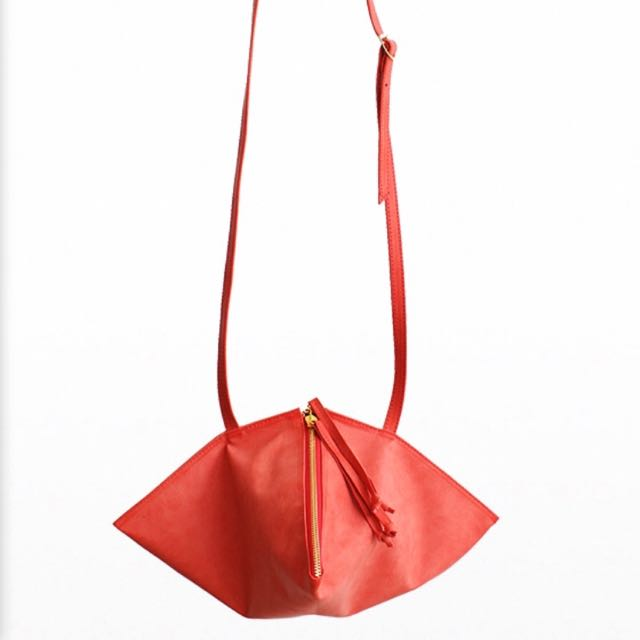 Cotton Ink Red Leather Diamond Sling Bag