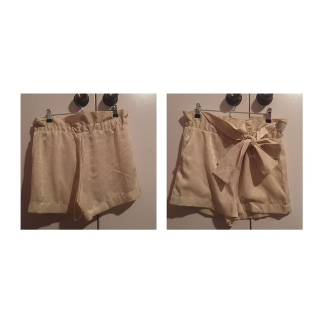 Cream Silky Shorts