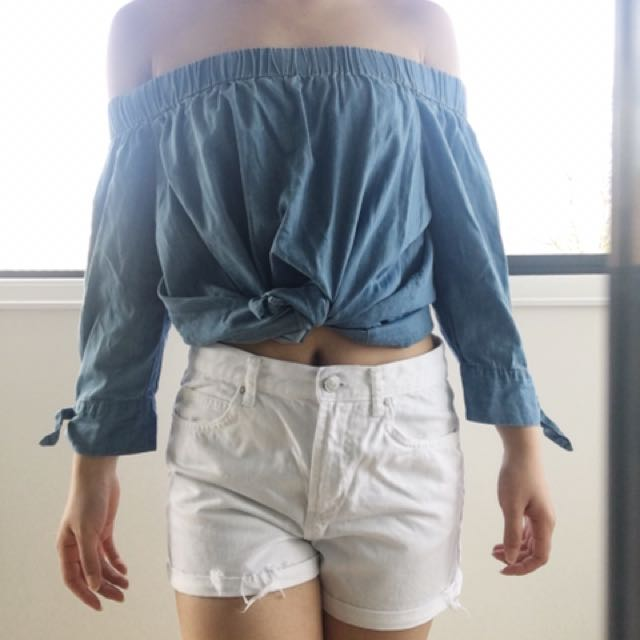 Denim Off-shoulder Top