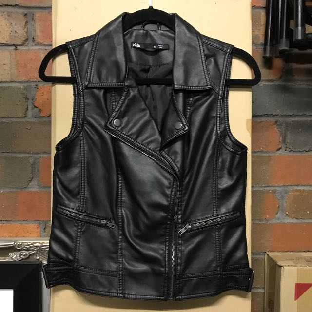DOTTI Women's Black Leather Biker Vest Size 10