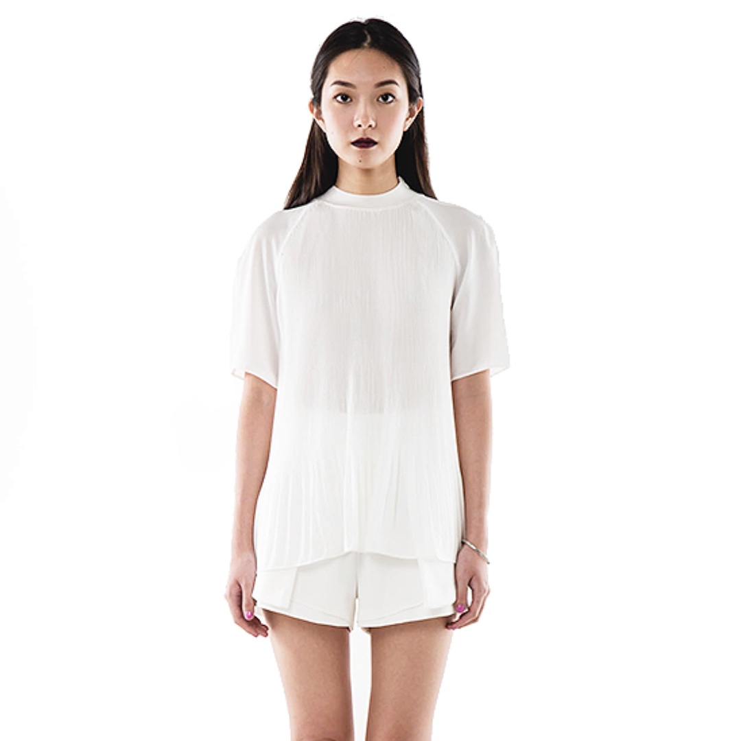Eightslate Willow Pleat Top - White