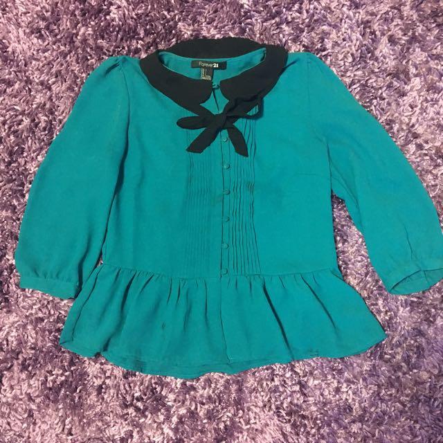F21 Cute Blue Peplum Shirt