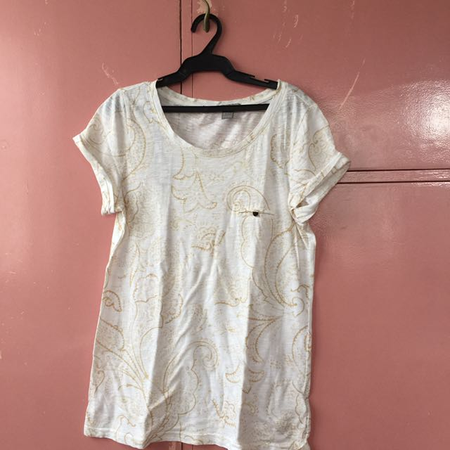 Forever 21 White And Gold Top