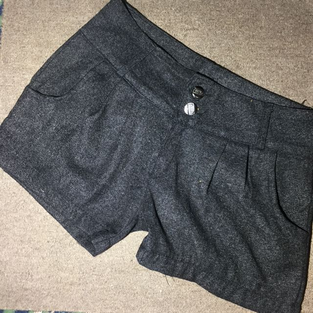 GRAY SUEDE SHORTS