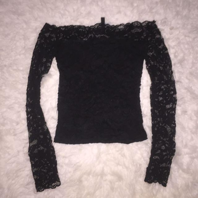 H&M Black Lace Off Shoulder Top
