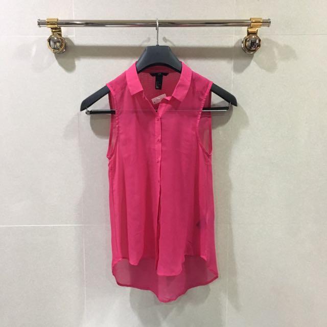 H&M Neon Pink Chiffon Top