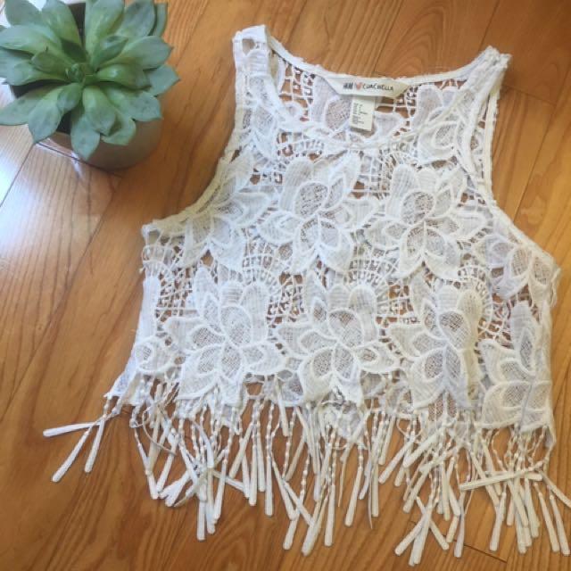 H&M White Floral Lace Crop Top