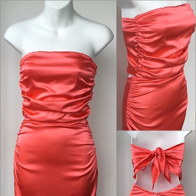 Hot Coral Strapless Party Dress