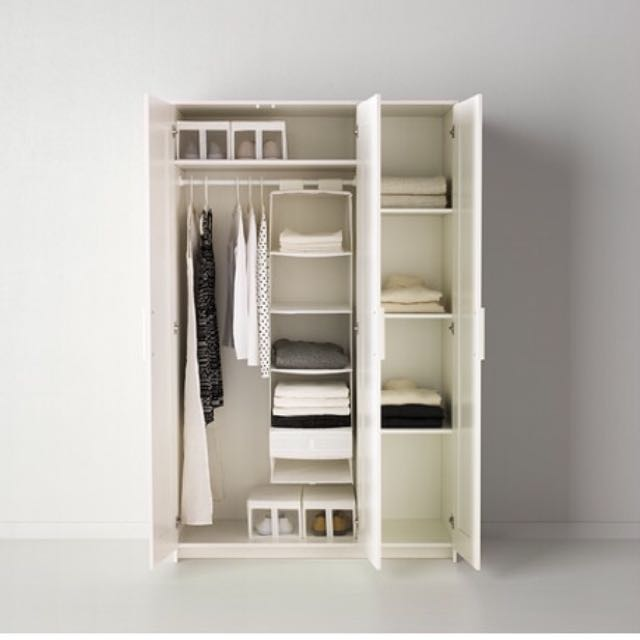 Ikea Brimnes Wardrobe With 3 Doors Mirror White 117x190