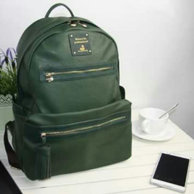 Moss Green PU Leather Bag With Tassle
